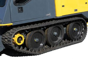 Rugged tracks mounted on the Cameleon sidewalk plow