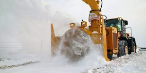 HS300 loader-mounted snow blower ideal for mine sites and national park roads