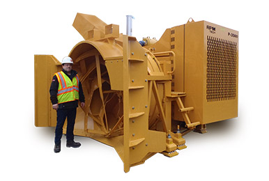 Oversize impeller housing of the P3500 loader-mounted snow lower