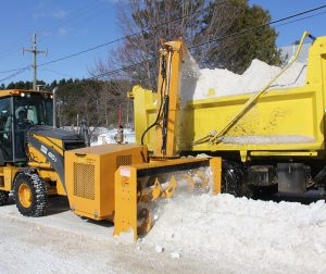 RPM215 loader-mounted snow blower | Snow truck loading
