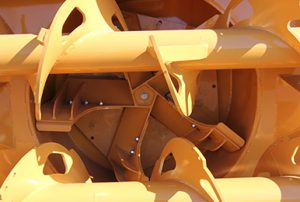 Compact snow blower for backhoe with oversize impeller casing