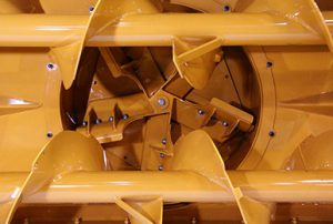 Oversize impeller housing on the RPM217 loader-mounted snow blower